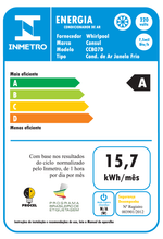 Ar condicionado de janela 7.500 btus frio Consul - CCB07DB - Especificações de Energia