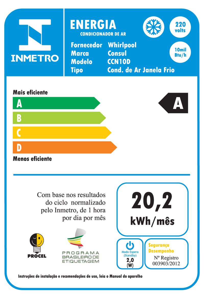 Ar Condicionado 10000 Btus Eletrônico Consul Frio - Ar Condicionado 10000 Btus CCN10DB - Selo do Inmetro