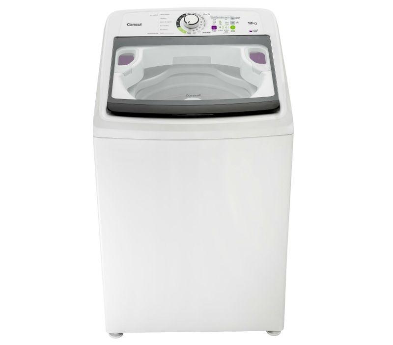 Máquina de lavar 12kg: branca com reutilização de água Consul - Lavadora de Roupas 12kg visão frontal CWE08AB