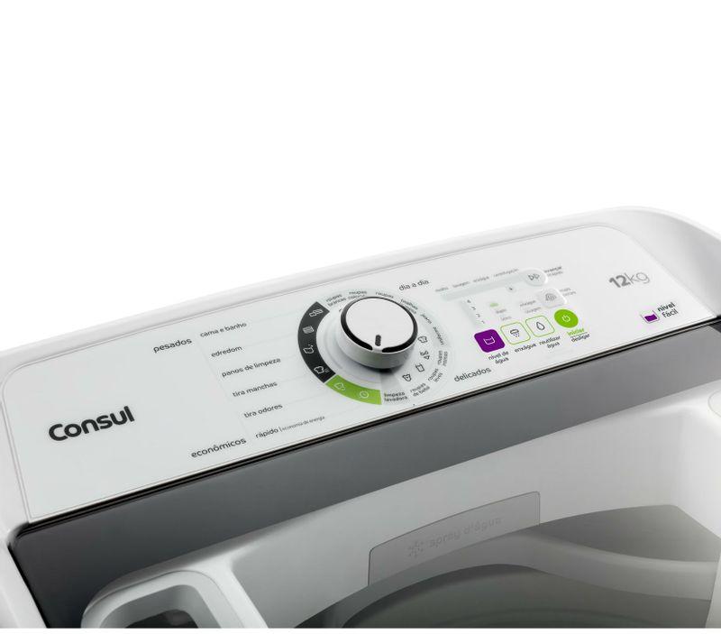 Máquina de lavar 12kg: branca com reutilização de água Consul - Lavadora de Roupas 12kg imagem com foco no painel de funções da máquina CWE08AB
