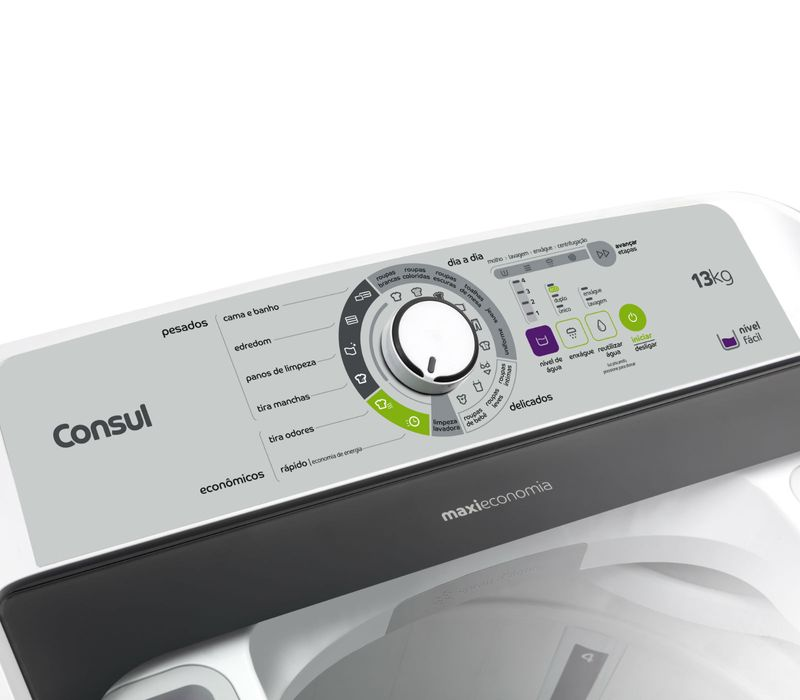 Painel da máquina de lavar 13kg: lavadora Maxi Economia Consul CWE13AB - Painel