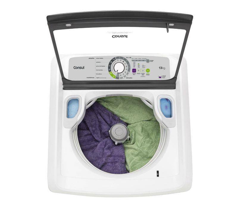 Painel da máquina de lavar 13kg: lavadora Maxi Economia Consul CWE13AB - Tampa aberta cheia