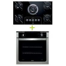 Combo Cooktop 5 Bocas Controle Fácil e Forno de Embutir a Gás 78L Prata com Grill Consul (CD075AE + COA84BR) - CD0_COA_CJ